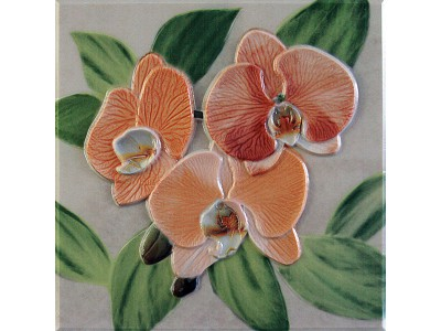 Orquideas Naranja Placa Decor 20 x 20