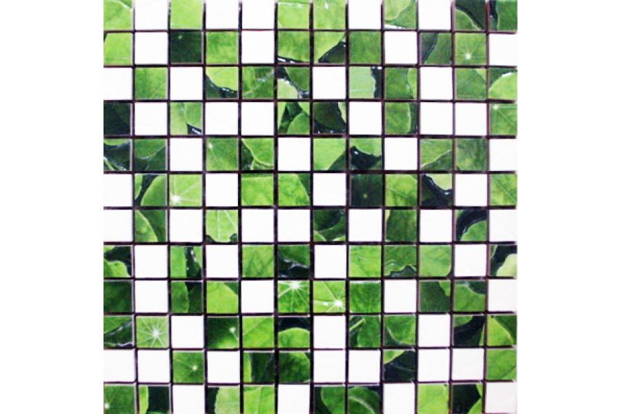 Купить Lotus Mosaico Blanco-Verde 30 X 30